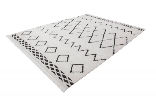 """Hochfloreppich """"Lira"""" schwarz weiß Muster mit Fransen 80x150cm 120x170cm 160x230cm Fransenteppich"""