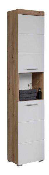 """Hochschrank """"Antonia"""", 37 x 190 x 31 cm, Asteiche (NB) / weiß HG, Badezimmerschrank, Badezimmer"""