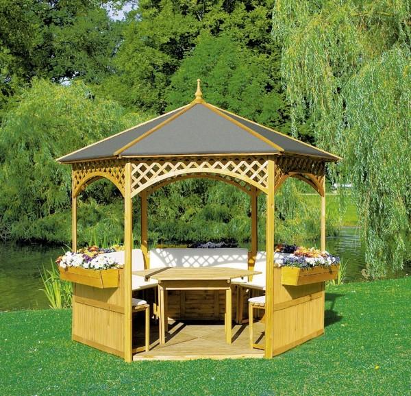 """Pavillon """"Marion II"""", Holz/Dachpappe, 278x278cm, mit Möbeln, Gartenpavillon, Pavillonset, Garten"""