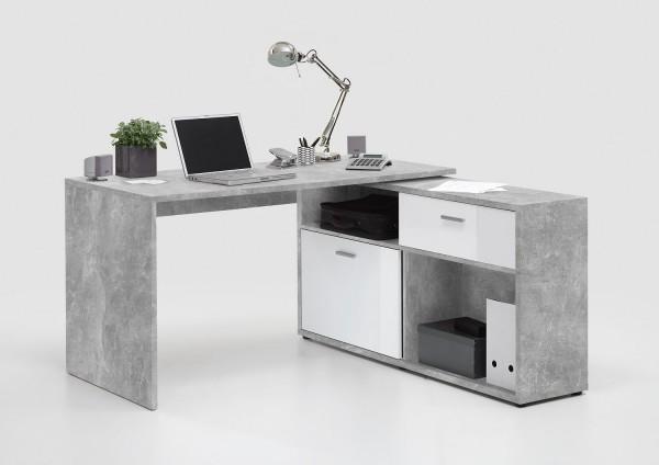 """Eck-Schreibtisch """"Soma"""" in Sandeiche/Hochglanz weiss 138x75x67,5 cm"""