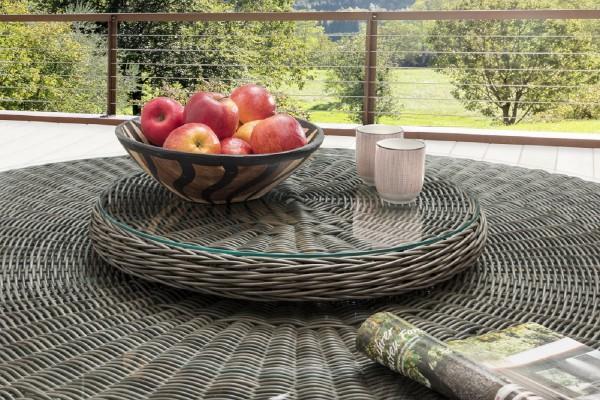 """Drehteller für Tisch """"Honey"""", vintage grau, 55 Ø x 8,5 cm, mit Glasplatte, Tischzubehör, Garten"""