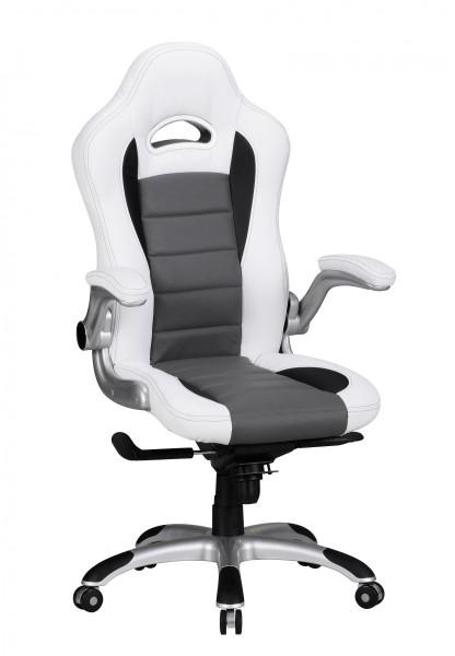"""Bürostuhl """"Dany"""", weiß/grau, Kunstleder, Schreibtischstuhl, Gamingstuhl, Drehstuhl, Sessel"""