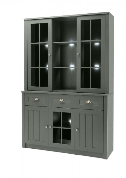 "Buffetschrank ""Monde II"" Holzdekor grün 130x196x35-43cm Sideboard"