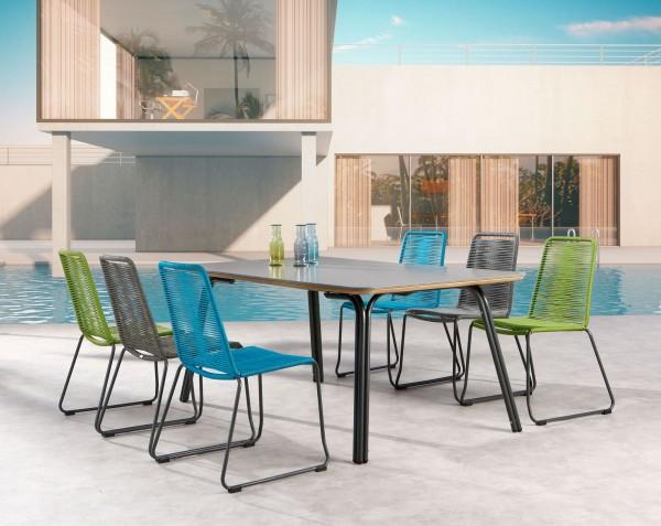 "Gartengruppe ""Olia"" 7-tlg. anthrazit/grau/blau/grün Tisch 180x100cm 6xStapelsessel Strick-Optik"