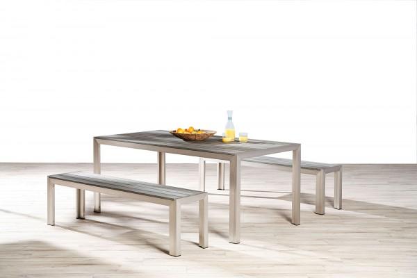 "Gartensitzgruppe ""Ole"" 3-tlg. Aluminium silber/anthrazit Tisch 2xSitzbank Sitzgruppe Gartenmöbel"