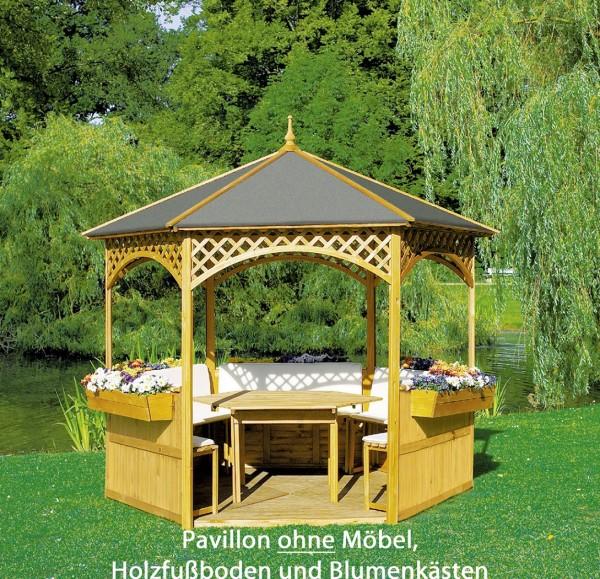 "Pavillon ""Marion II"", Kiefer/Dachpappe, 278x278cm, ohne Möbel, Gartenpavillon, Garten"