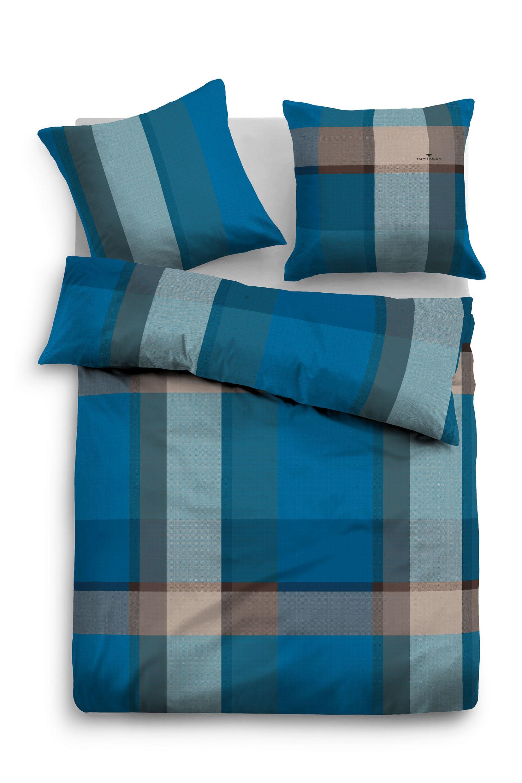Tom Tailor Flanell Bettwäsche Blue Plaid Blaugrau Beauty