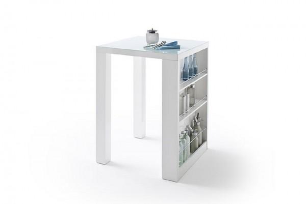 """Barmöbel Set """"Soldier"""" 3-tlg. Bartisch, 2 Stühle, weiß, braun, 80x107x80cm"""