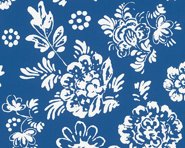 "Oilily Atelier Designer Tapete ""Sassy"" Vinyltapete Blau, Weiß"