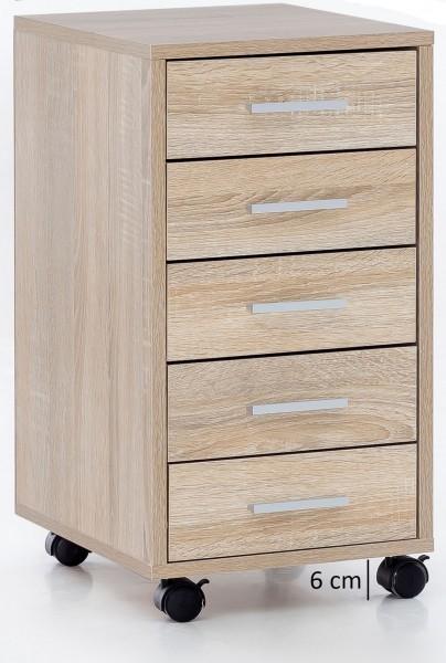 """Rollcontainer """"Cara"""" Sonoma auf Rollen mit Bremse 5 Schubladen 33x63x38cm Bürocontainer"""