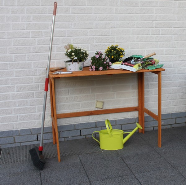 """Gärtnertisch """"Tonia"""" honigbraun klappbar wetterfest 116x58x86,5cm Kieferholz Pflanztisch"""