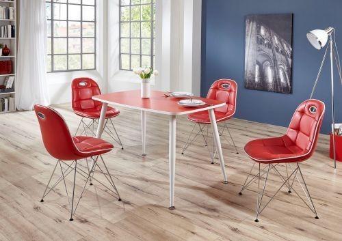 "Tischgruppe Set ""Ambrosia IIII"" 4 Stühle Lederoptik rot/ Vierfusstisch rot Essgruppe"