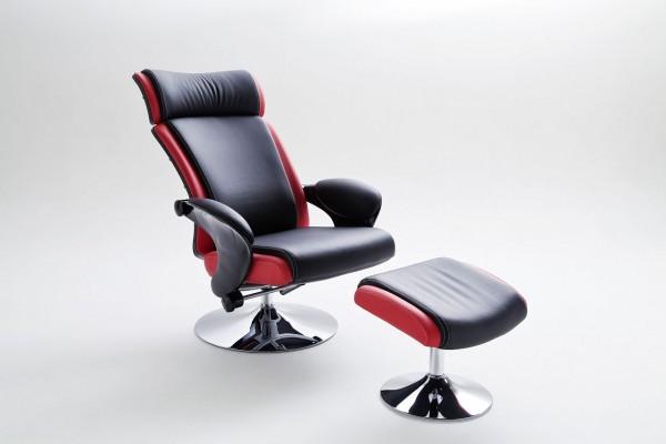 """Relax Sessel Komfort """"Ardor""""- Wohnzimmersessel mit Hocker schwarz mit rot PU 110kg"""