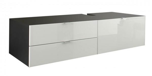 """Waschbeckenunterschrank """"Arwon"""", Schrank ohne Waschbecken Grau Hochglanz Weiss MDF 140x35x53cm"""