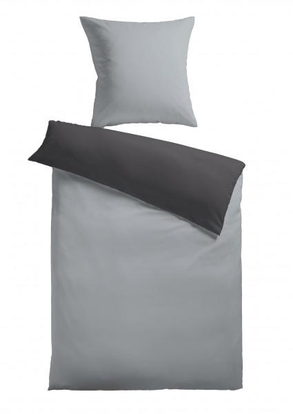"""Bettwäsche """"Bella"""" grau mit Reißverschluss Polyester Fleece 155x220cm Wendebettwäsche"""
