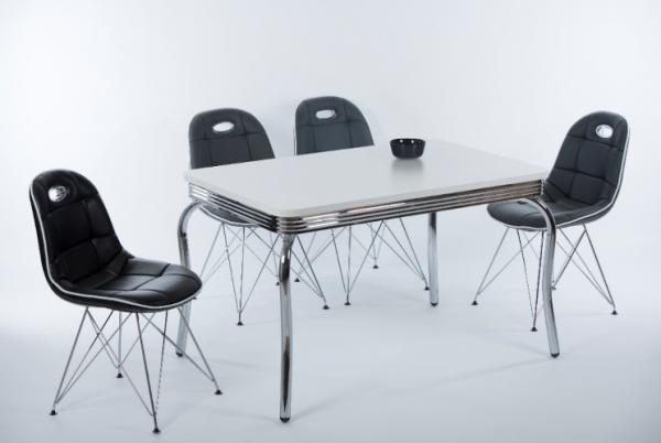 """Tischgruppe Set """"Elysium"""" 4 Stühle Lederoptik schwarz/ Vierfusstisch Essgruppe Küchenset"""