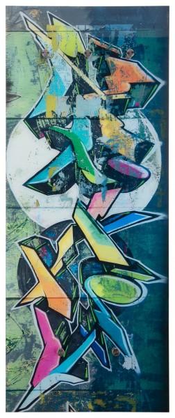 "Spiegelprofi 76125014 Glasgarderobe FELIX Glasgarderobe ""Graffitimalerei"", 50x125x6 cm, Garderobe, Kleiderhaken"