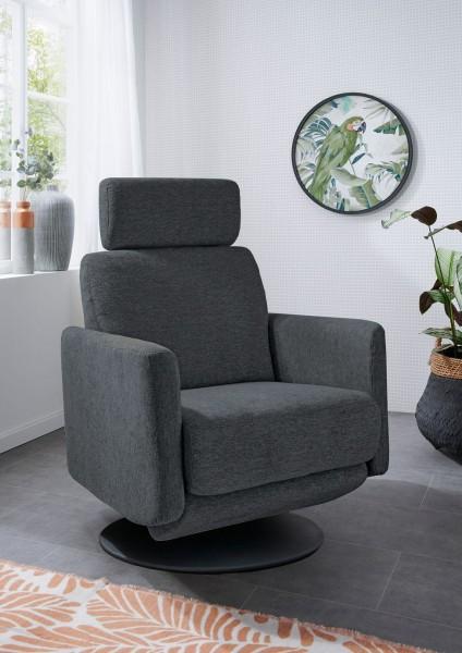 "Sessel ""Alexis III"" dunkelgrau schwarz 77 x 105 x 87-154 cm (B/H/T) Sessel mit Relaxfunktion"