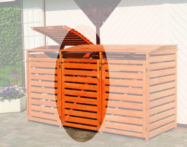 """Erweiterung für die Doppelmülltonnenbox """"Sabrina II"""" honigbraun Kiefernmassivholz 92x70x122cm"""