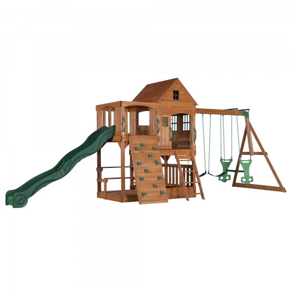 """Holzspielhaus """"Tassilo"""" groß aus Holz inkl. viel Spielmöglichkeit 409x536x290cm"""