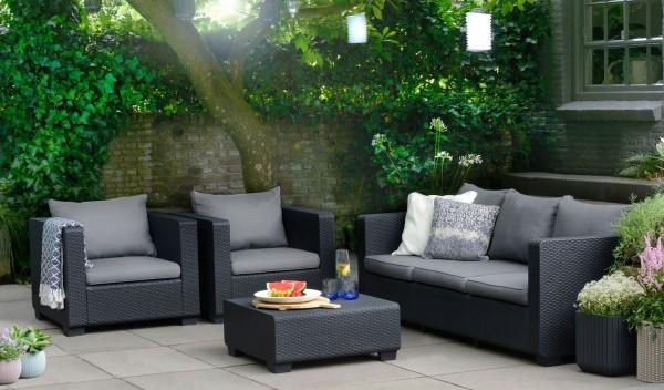 """Lounge Gruppe """"Cyrus"""" 4-tlg. Kunststoff in graphit/hellgrau Tisch 3-Sitzer 2xSessel Gartengruppe"""