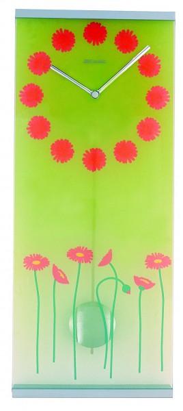 """Wanduhr Pendeluhr """"Poppy"""" Glas, Küche, Wohnzimmer, Diele/Flur, 58x24 cm, in Grün"""