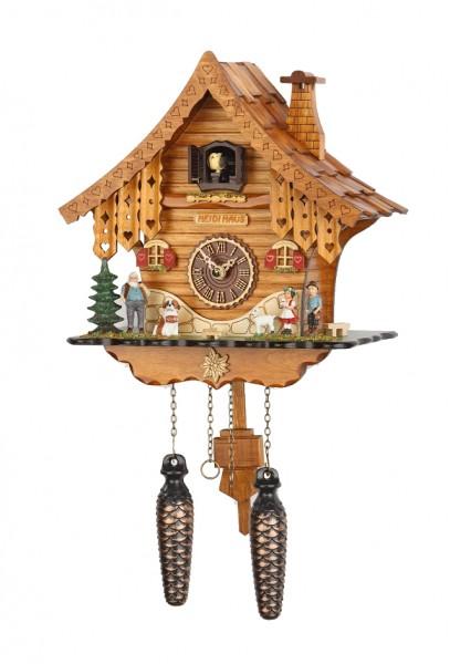 """Kuckucksuhr """"Bobba"""" Holz mit Kuckucksruf, 12 verschiedene Melodien, Quartzuhrwerk, Schwarzwalduhr, Uhr, Wanduhr, Pendeluhr, Diele/Flur, 39x25x15 cm"""