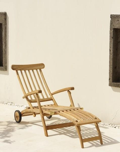 """Teak-Deckchair """"DELUXE"""" mit Rädern OHNE Polster"""