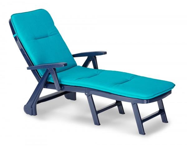 """Rollliege """"Phil"""" inkl. Polsterauflage 72x189x97cm Kunststoff blau Gartenliege Gartenmöbel Outdoor"""