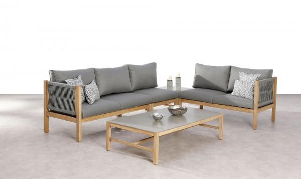 """Lounge Gruppe """"Bea"""" 5-tlg. Grandis-Holz grau Flachband-Gewebe Gartenset Sitzgruppe Garten"""