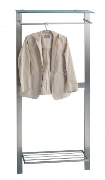 """Garderobe """"Marcel"""", Edelstahloptik, Sicherheitsglas, Schuhablage, 80x190x33cm"""