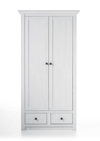 """Garderobe, Garderobenschrank """"Feres""""- Pinie Weiss Nachbildung, 105x206x45cm"""