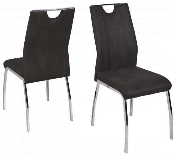 """2er-Set Stuhl """"Mia"""", silber/anthrazit, Lederlook, 43x100x63 cm, Küchenstuhl, Esszimmerstuhl, Küche"""