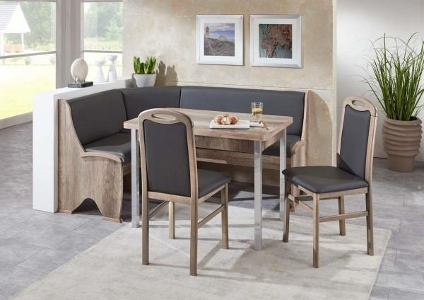 Eckbankgruppe 'Meran' Tisch 2 Stühle Eckbank Lederoptik dunkelgrau Buche massiv Monument Oak Dekor