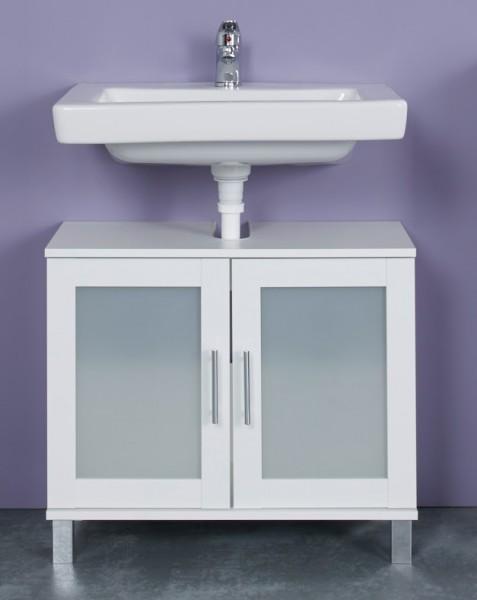 """Waschbeckenunterschrank """"Ole"""", weiß Melamin, Badezimmerschrank, 65 x 56 x 33 cm"""