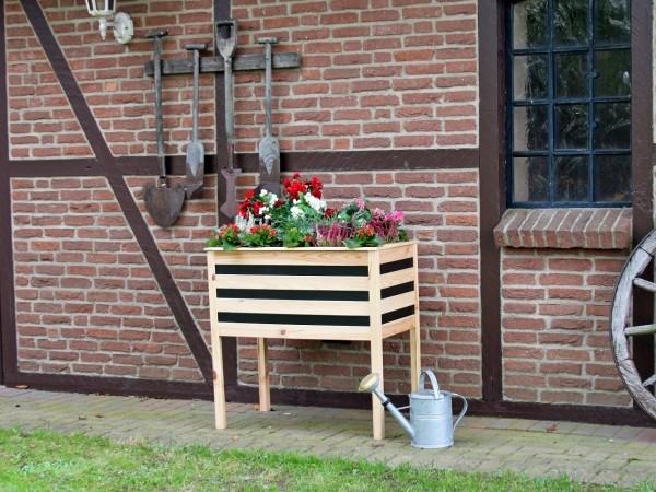 """Pflanzkasten auf Beinen """"Melanie"""", honigbraun/schwarz, 88 x 48 x 90 cm, Gartenbeet, Hochbeet, Garten"""