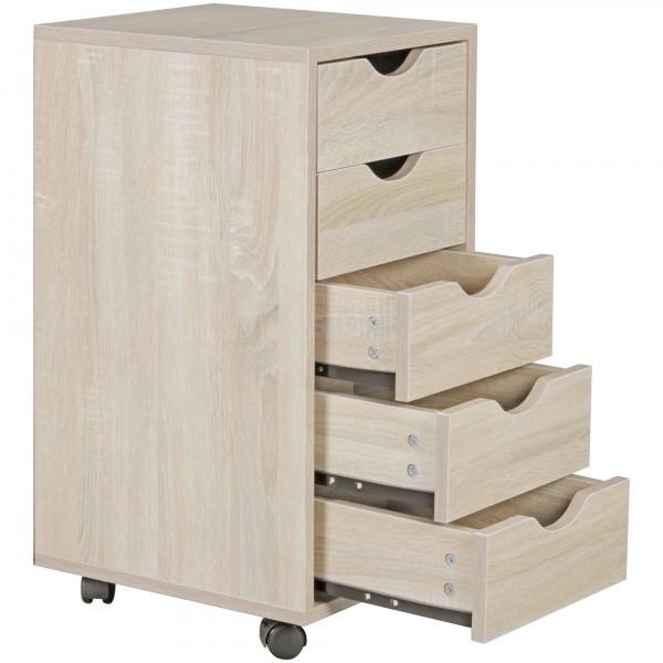 """Rollcontainer """"Stina"""" sonoma auf Rollen mit Bremse 5 Schubladen 33x68x38cm Bürocontainer"""