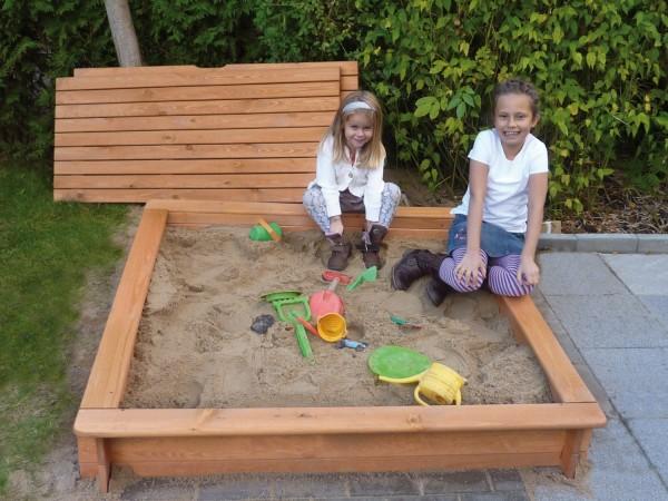 """Sandkasten """"Ella"""", Kiefer, honigbraun, 100x100x24cm, mit Abdeckung, Kindersandkasten, Kinder, Garten"""
