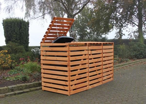 """Erweiterung Mülltonnenbox """"Tim"""", 70x92x122cm, honigbraun, Kiefer, mit Deckel, für je 1 Tonne, Garten"""