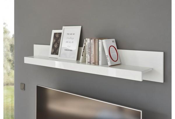 """Wandboard """"Mats"""" weiß tiefzieh hochglanz 150x21x20cm Wandregal Regal Bücherregal"""