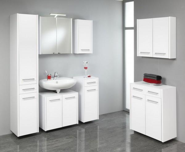 """Badezimmerset """"Hugo"""", weiß/weiß, 7-teilig, Badset, Badezimmerprogramm, Badschrank"""