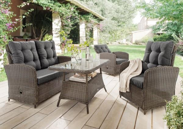 """Sofaset """"Pearl"""", vintage grau, 4-teilig, inkl. Polster und Tischglasplatte, Loungemöbelset, Garten"""