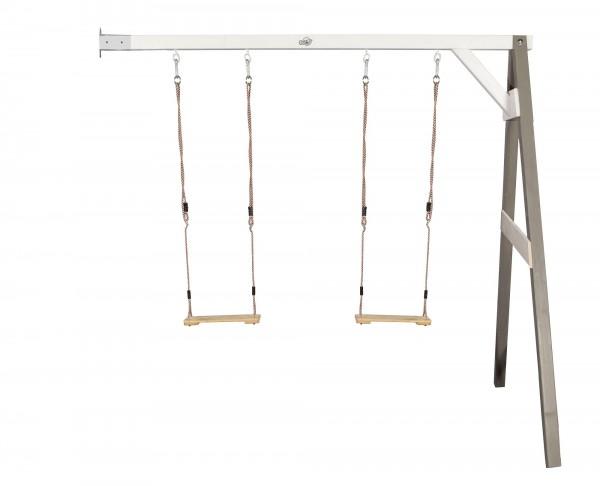 "Doppelschaukel zur Wandbefestigung ""Eden 2"" Hemlock-Holz in grau 160x244x207cm"