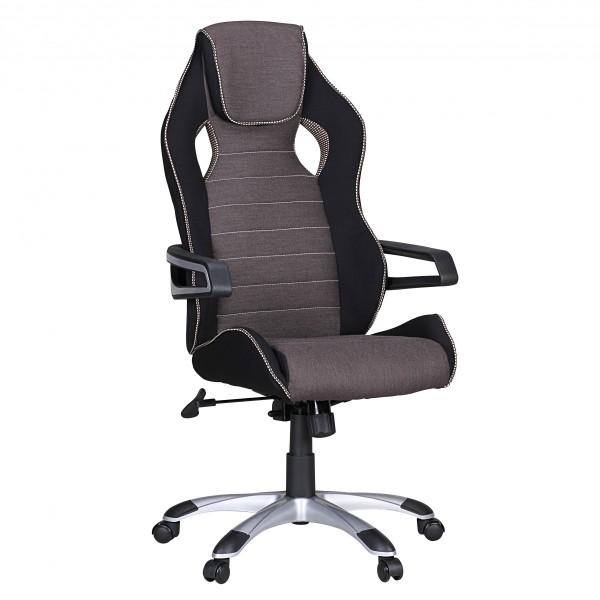 "Bürostuhl ""Niels"", schwarz/weiß, Stoff, Schreibtischstuhl, Gamingstuhl, Sessel"
