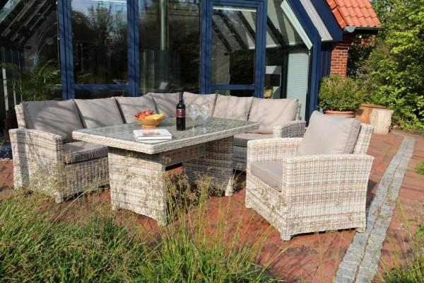 """Sofaset Lounge """"Marbella"""" 3-Sofa Hocker Tisch beige-braun inkl Polster"""