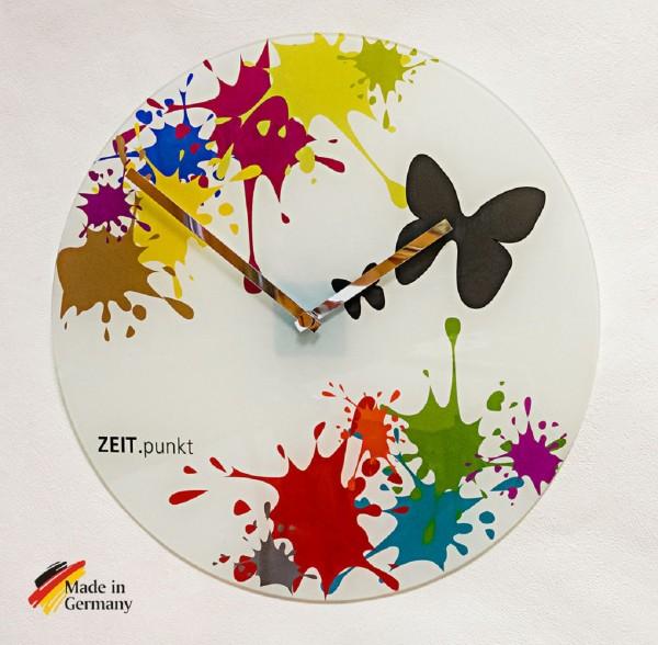 """Quartz Wanduhr """"Colour"""" aus Glas mit bunten Farbklecksen, Ø 40 cm"""