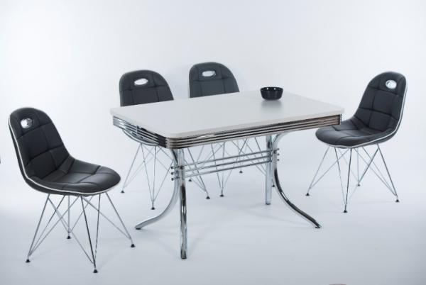 """Tischgruppe Set """"Elysium I"""" 4 Stühle Lederoptik schwarz/ Bistrotisch Essgruppe Küchenset"""