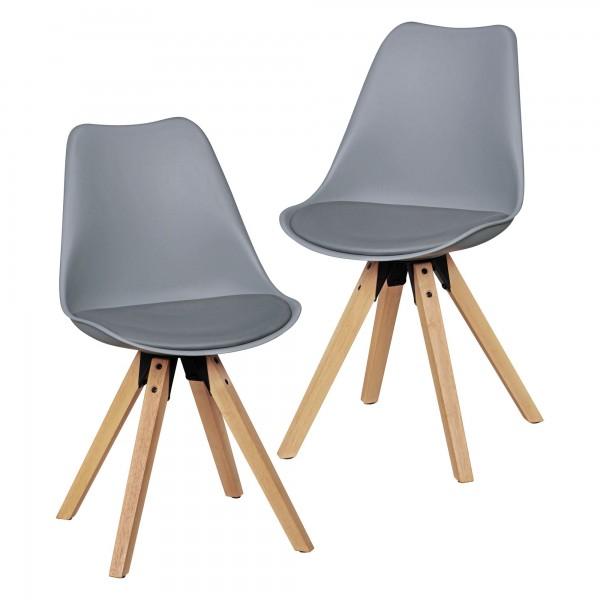 """2er Set Stuhl """"Sola III"""" Holzstuhl Rubberwood 48x89x42cm Küchenstuhl"""