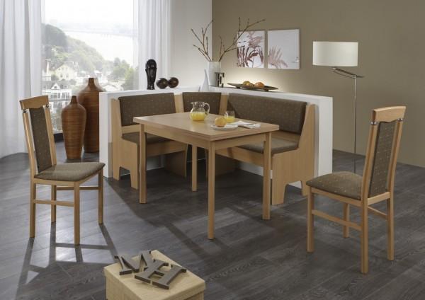 "Eckbankgruppe ""Tad"" Tisch 2x Stühle Buche massiv Truheneckbank Buche natur Dekor variabel aufbaubar"