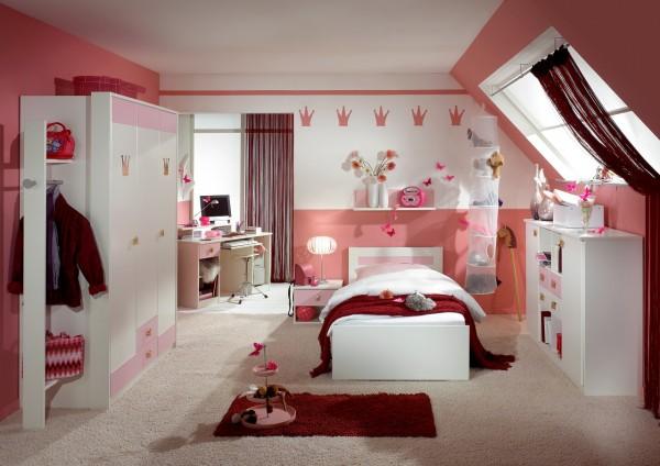 """Kinderzimmer Jugendzimmer """"LIttle Princess XL"""" Set komplett Weiss Rose"""